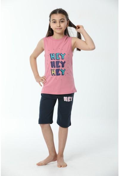 HMD Kız Çocuk Pamuklu Pembe Hey Baskılı Şortlu Askılı Takım