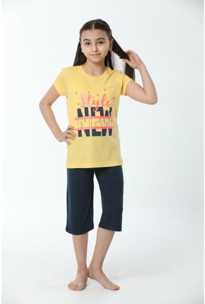 HMD Kız Çocuk Pamuklu Sarı Style New Baskılı Kısa Kollu Kapri Takım