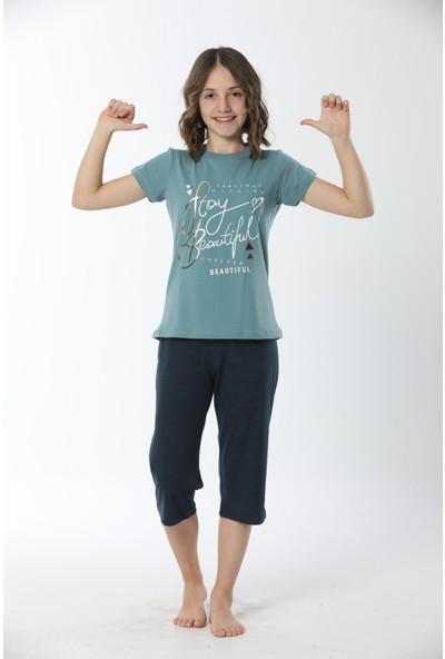 HMD Kız Çocuk Pamuklu Yeşil Baskılı Kısa Kollu Kapri Takım