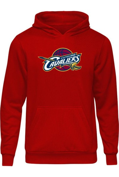 Fandomya All-Star Cleveland Kırmızı Kapşonlu Sweatshirt