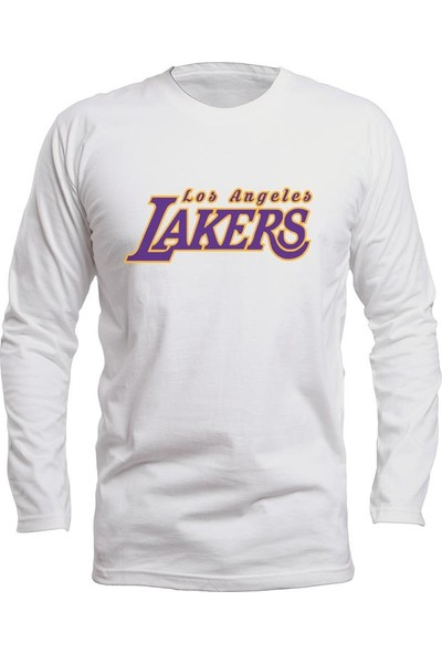 Fandomya All-Star Los Angeles Lakers Type Beyaz Long Sleeve