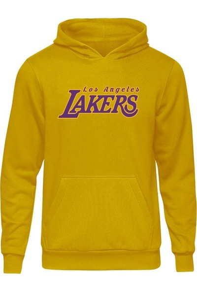 Fandomya All-Star Los Angeles Lakers Type Sarı Kapşonlu Sweatshirt
