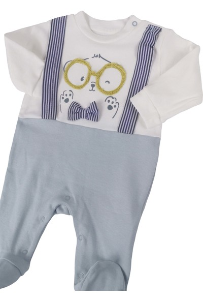 Twetoon Gözlüklü Papyonlu Ayı Patikli Erkek Bebek Tulum