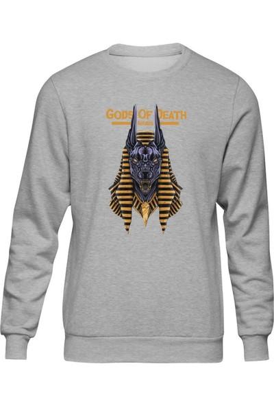 Fandomya Antik Mısır Anubis Gri Sweatshirt