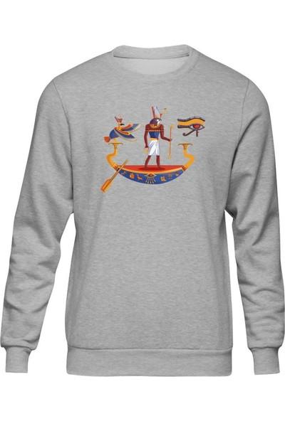 Fandomya Antik Mısır Horus Ship Gri Sweatshirt