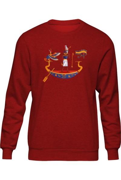 Fandomya Antik Mısır Horus Ship Kırmızı Sweatshirt