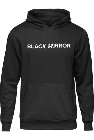 Fandomya Black Mirror Broken Siyah Kapşonlu Sweatshirt