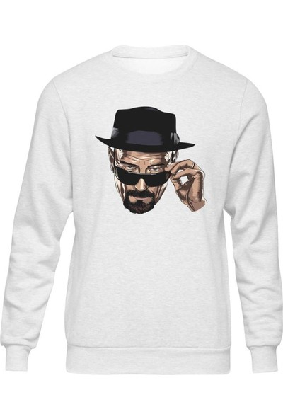 Fandomya Breaking Bad Face Beyaz Sweatshirt