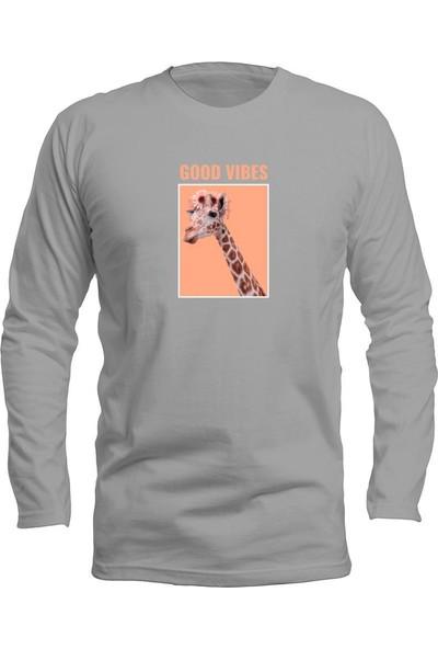 Fandomya Casual Animal Zürafa Gri Long Sleeve