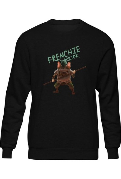 Fandomya Casual French Bulldog Warrior Siyah Sweatshirt