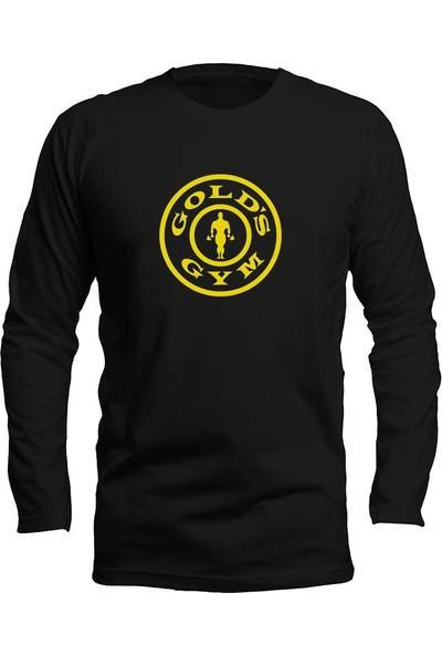 Fandomya Casual Golds Gym Logo Siyah Long Sleeve