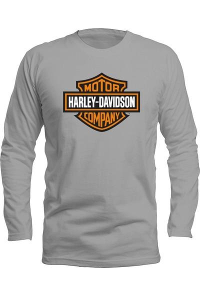 Fandomya Casual Harley Classic Gri Long Sleeve