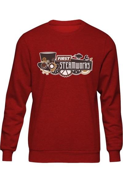Fandomya Casual Steamworks Kırmızı Sweatshirt