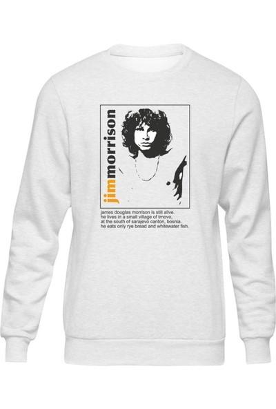 Fandomya Jim Morrison Face Beyaz Sweatshirt