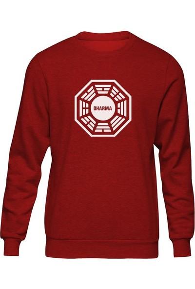 Fandomya Lost Dharma Logo Kırmızı Sweatshirt