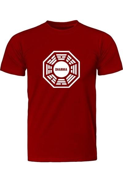 Fandomya Lost Dharma Logo Kırmızı Tişört