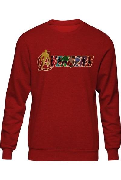 Fandomya Marvel Avengers Kırmızı Sweatshirt