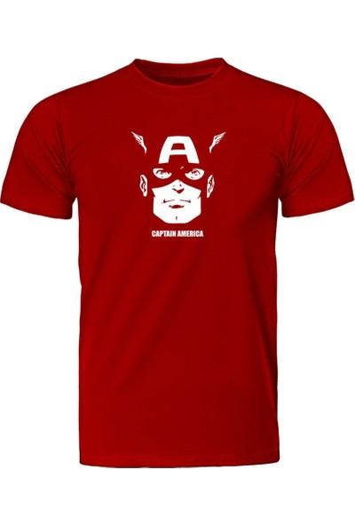Fandomya Marvel Captain America Kırmızı Tişört