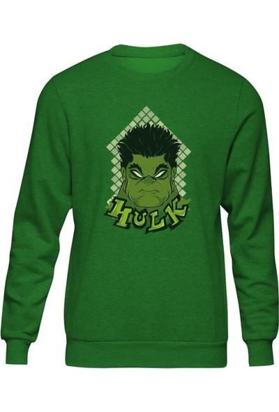 Fandomya Marvel Hulk Face Yeşil Sweatshirt