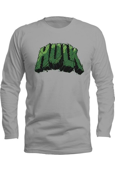 Fandomya Marvel Hulk Type Gri Long Sleeve