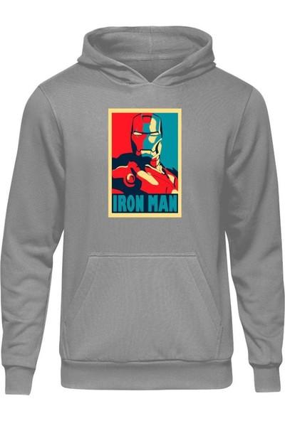Fandomya Marvel Iron Man Legend Gri Kapşonlu Sweatshirt