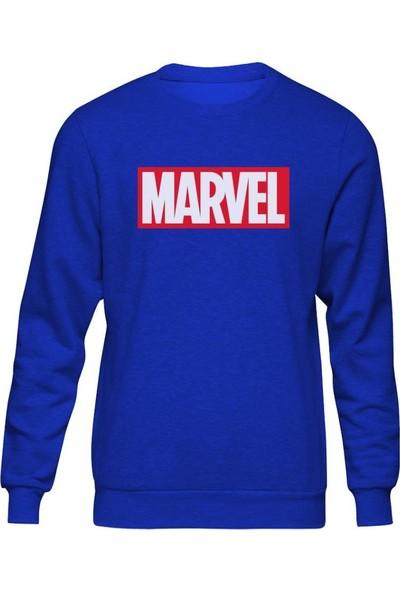 Fandomya Marvel Logo Mavi Sweatshirt