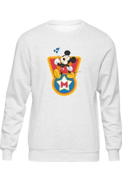 Fandomya Mickey Mouse Single Beyaz Sweatshirt
