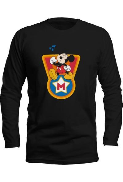 Fandomya Mickey Mouse Single Siyah Long Sleeve