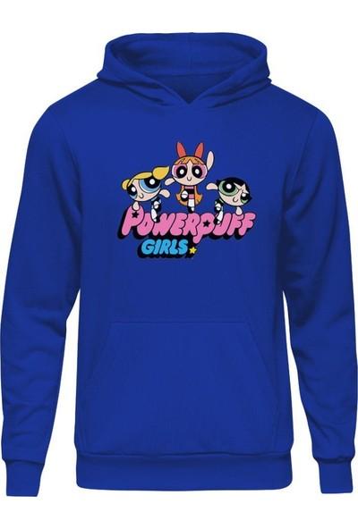 Fandomya Powerpuff Girls Fly Mavi Kapşonlu Sweatshirt