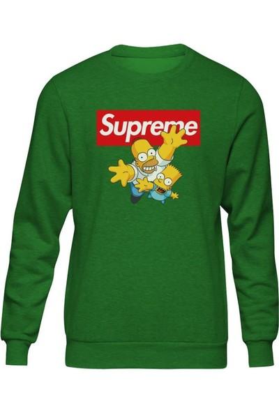 Fandomya Simpsons Supreme Yeşil Sweatshirt