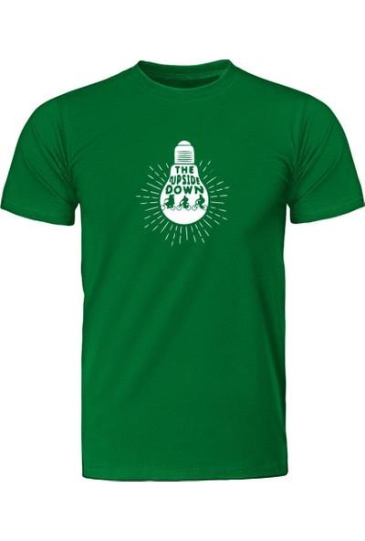 Fandomya Stranger Things Upside Down Yeşil Tişört
