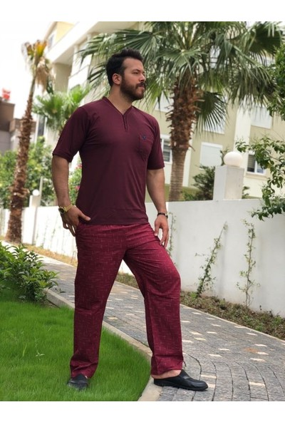 Kly Erkek Kısa Kol Poplin Pantolonlu Pijama Takım 7039