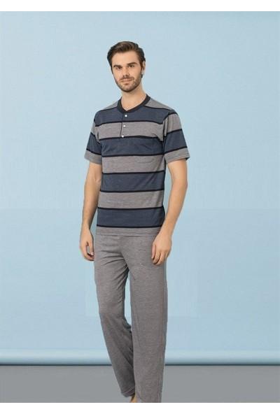 Kly Erkek Midi Yaka Kısa Kol Pijama Takım 9029