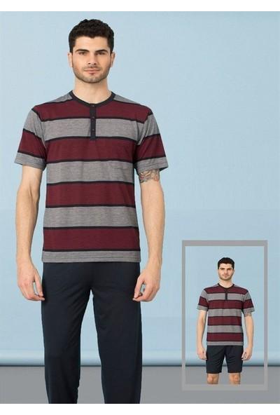 Kly Erkek Yaka Reçme 3'lü Pijama Takım 9053
