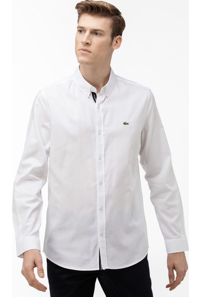 Lacoste Erkek Slim Fit Düğmeli Yaka Beyaz Gömlek CH0063.63A