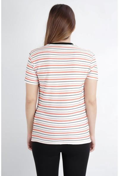 Alexander Gardi V Yaka Çizgili Regular Fit Casual T-Shirt Beyaz-Mercan (B20-1654 01)