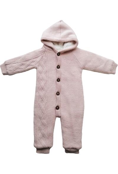 Puppis Baby Kapşonlu Welsoft Pembe Triko Tulum