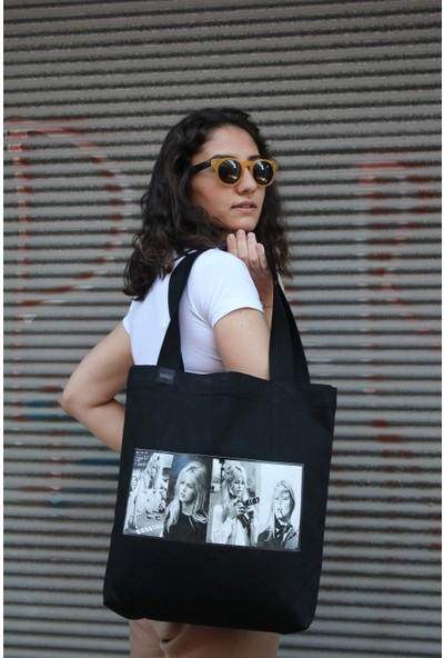 Baag İstanbul Tasarım İkon Serisi Bridget Bardot Baskılı Siyah Jean Omuz Çantası