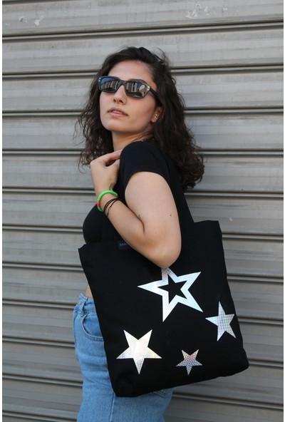 Baagistanbul Tasarım Siyah Kanvas Stars Kadın Omuz Çantası