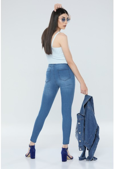 Çiçek Büyük Beden Açık Mavi Kot Pantolon