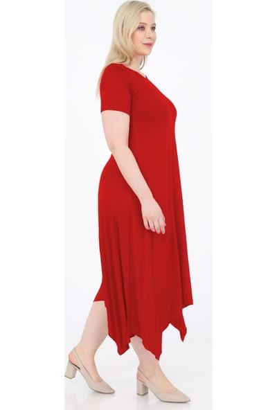1fazlası Asimetrik Kesim Patchwork Detaylı Büyükbeden Elbise