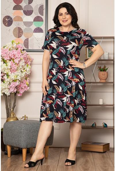 1fazlası Kadın Büyük Beden Yaprak Desenli Viskon Elbise