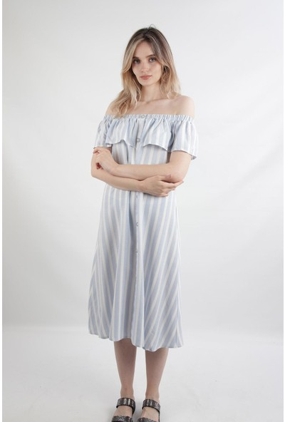 Alexander Gardi Madonna Yaka Midi Boy Elbise Mavi-Beyaz (B20-164802)