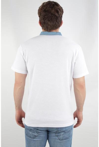 Alexander Gardi Waffle Kumaş Regular Fit Denim Polo Yaka T-Shirt