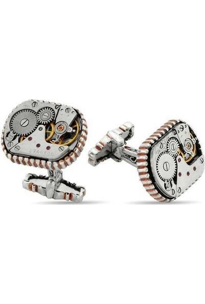 Estetik Gümüş Gümüş Özel Tasarım Saat Mekanizmalı Kol Düğmesi