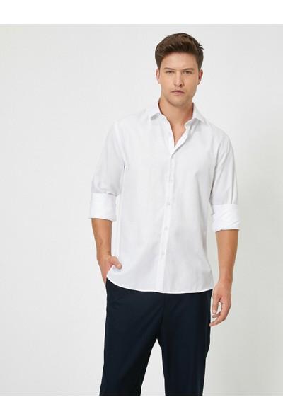 Koton Dügmeli Yaka Uzun Kollu Slim Fit Smart Gömlek
