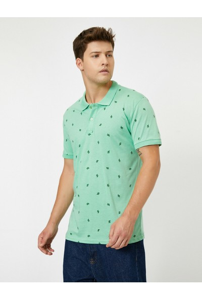 Koton Desenli Polo Yaka Kısa Kollu T-Shirt