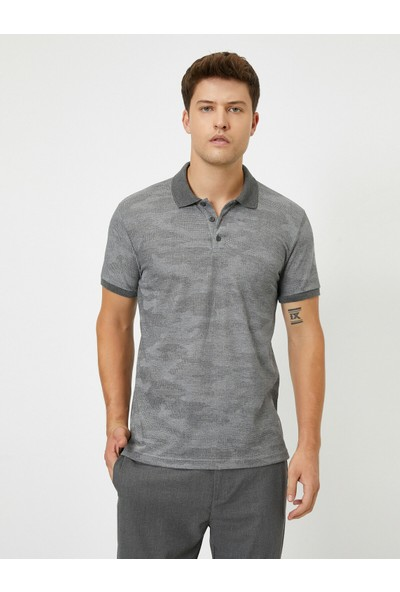 Koton Polo Yaka Kısa Kollu Desenli T-Shirt