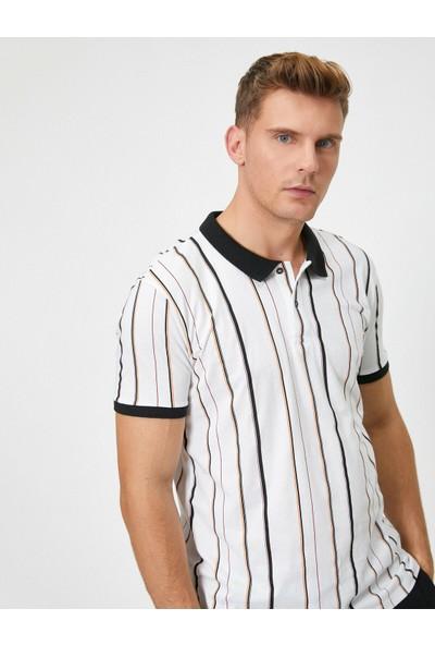 Koton Polo Yaka Kısa Kollu Çizgili T-Shirt