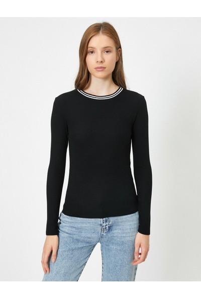 Koton Yakasi Çizgi Detaylı Uzun Kollu Basic T-Shirt